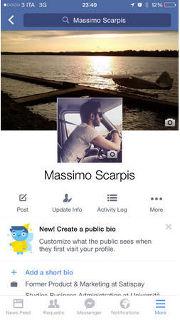 New Facebook Profile Page for Mobiles